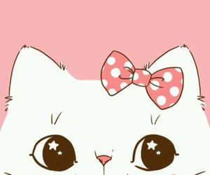 pink, wallpaper, and cat image