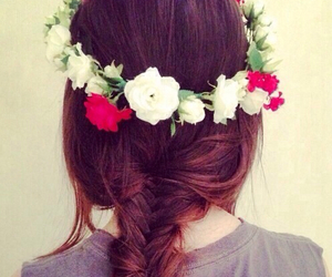 hair, flowers, and braid image