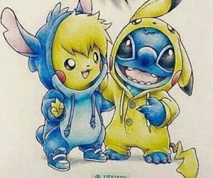 pikachu, stitch, and drawing image