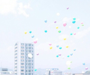 balloons, city, and sky image