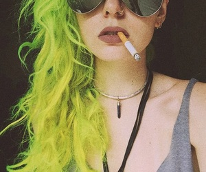 hair, green, and girl image