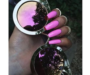 nails, pink, and sunglasses image
