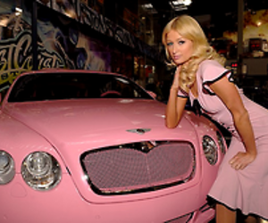 paris hilton, pink, and Bentley image