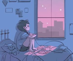 night, art, and alone image