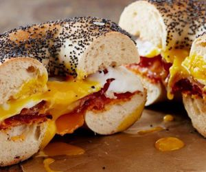 bacon, bagel, and egg image
