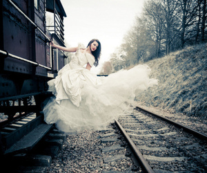 train, girl, and dress image
