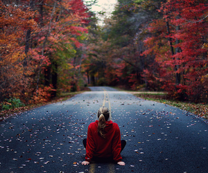 girl, autumn, and road image