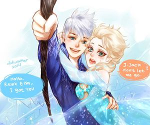 elsa, jack frost, and love image