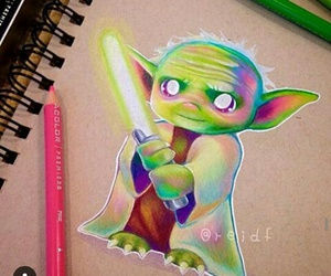 star wars, yoda, and drawing image
