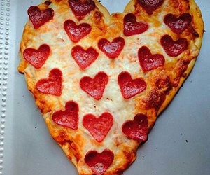 hearts, pizza, and love image