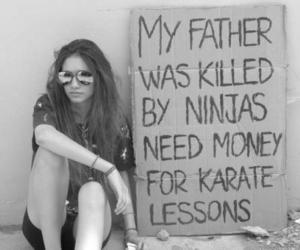girl, black and white, and karate image