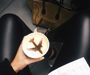 coffee, travel, and airplane image