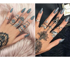 grey, henna, and nails image