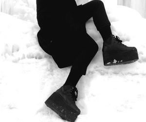 black, grunge, and snow image