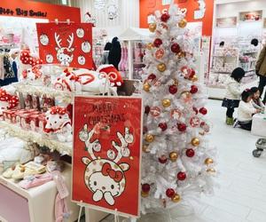 christmas, christmas tree, and hello kitty image