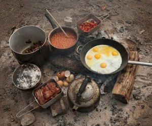 camping, nature, and food image