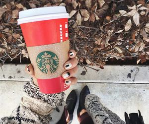 starbucks, nails, and sweater image