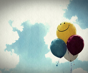 balloons, sky, and happy image