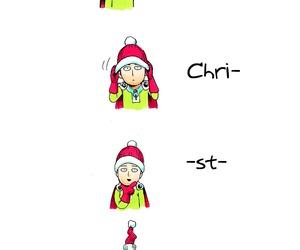 saitama, one punch man, and christmas image