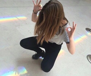 girl, grunge, and rainbow image
