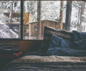 bed, winter, and snow image