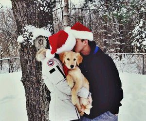 couple, dog, and snow image