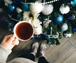christmas, tea, and tree image
