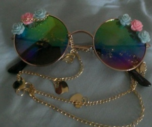glasses, grunge, and flowers image