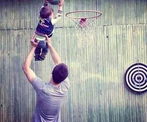 baby, Basketball, and dad image