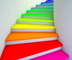 stairs, rainbow, and colors image