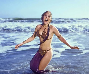 beach, carrie fisher, and star wars image