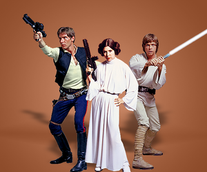 han solo, luke skywalker, and carrie fisher image