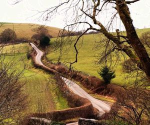 road, countryside, and wales image