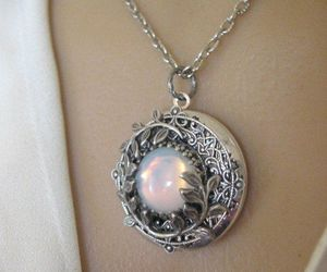 flowers, locket, and opal image