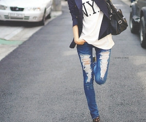 jeans, outfit, and street image