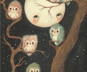 moon, owl, and art image