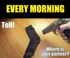 funny, socks, and morning image