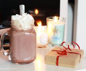 candle, chocolate, and christmas image
