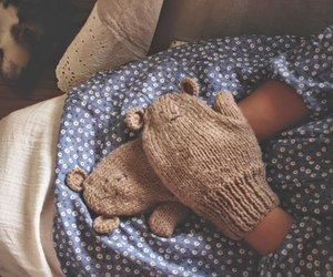 knit, knitting, and mitten image