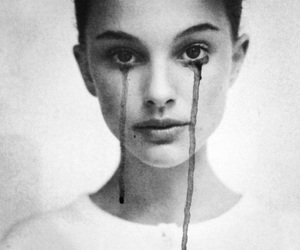 natalie portman, black and white, and cry image