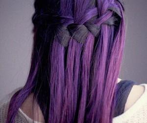 hair, purple, and braid image