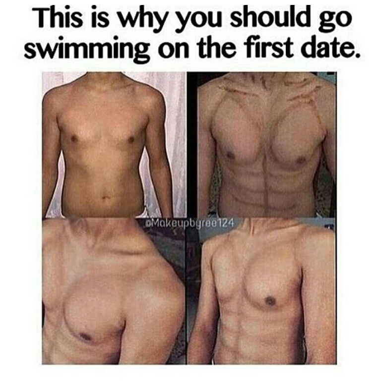 funny, makeup, and swimming image