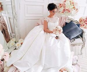 bouquet, wedding, and bride image