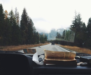 travel, car, and book image