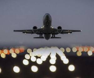airplane, light, and travel image