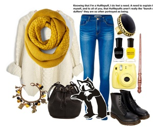 harry potter, hufflepuff, and outfit image