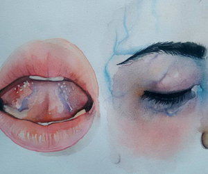 eyes, waterpaint, and mouth image