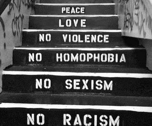love, peace, and black and white image