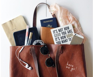 bag, travel, and passport image