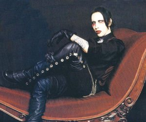 black, dark, and Marilyn Manson image
